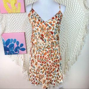 Haute Hippie 100% Silk Floral Ruffle Dress Large